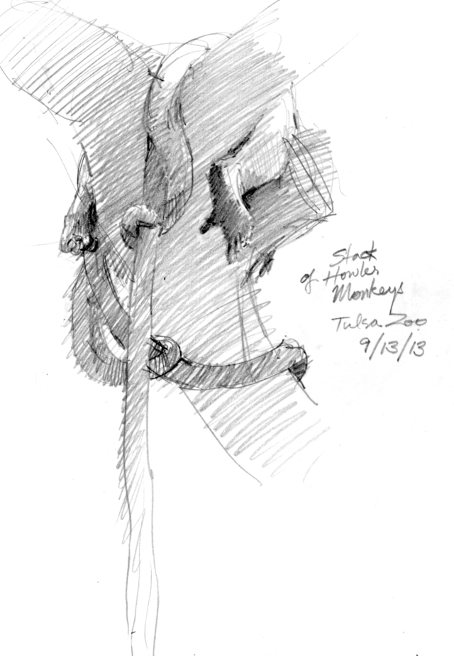 "Stack of howler monkeys, asleep, Tulsa Zoo. Only thing visible: tails and feet. No idea how many monkeys are here. Pencil on 8 1/2"" x 11"" Stillman & Birn sketchbook, Epsilon Series."