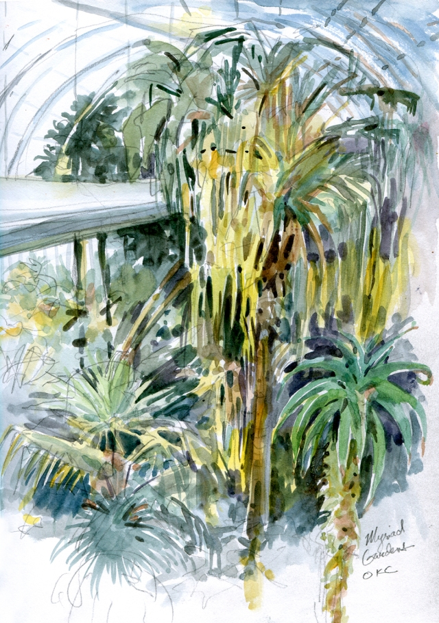 "A little rainforest escape pod, seen from within the Myriad Botanical Garden's Crystal Bridge Tropical Conservatory, the glorious tropical heart of Oklahoma City. A glass cylinder fallen on its side, filled with palm trees, orchids, waterfalls and zebra heliconia butterflies. A big warm breath of rainforest air in the heart of the big city. Watercolor over pencil in a Stillman & Birn sketchbook, 8 1/2"" x 11"""