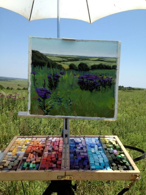 Blooming ironweed on a sunbaked tallgrass prairie in Pawhuska, Oklahoma, rendered in pastel. The wind, miraculously, was quiet for the day.