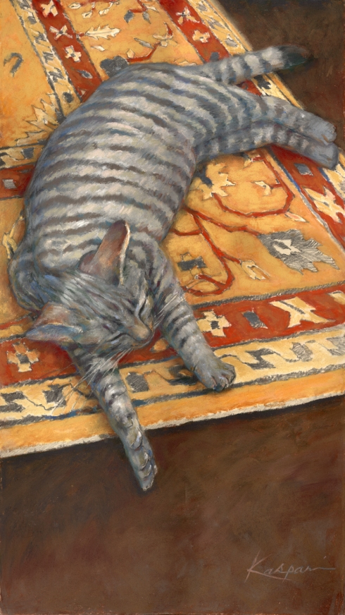 "Gizmo, safely asleep. Pastel on paper, about 30"" long. Cute!"