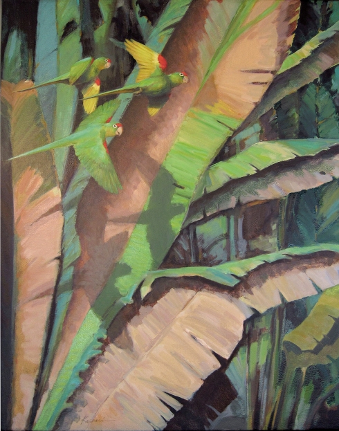 "Another warm scene. Crimson fronted parakeets flying past a sunny patch of heliconia leaves. Oil on canvas, 24"" x 30""."