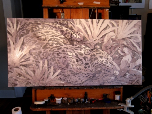 "Underpainting of a sleeping jaguar, somewhere around dawn in the leaf litter on Barro Colorado Island, Panama. I've never seen a jaguar there, but they have them there, or at least one. Oil on canvas, 48"" x 24""."