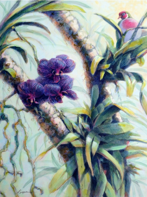 "Vanda orchid and Jamba fruit dove, joined together in a festive eye-candy scuffle. Acrylic on cradled board, 28"" x 24""."