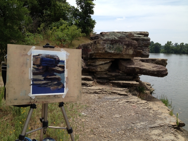 At Wilson's Rock, an outcropping along the Arkansas river in eastern Oklahoma.