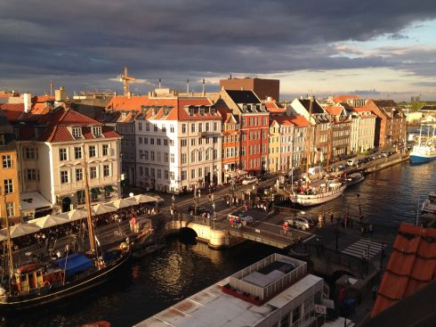 Wonderful Copenhagen: the evening view from our little apartment on Nyhavn.