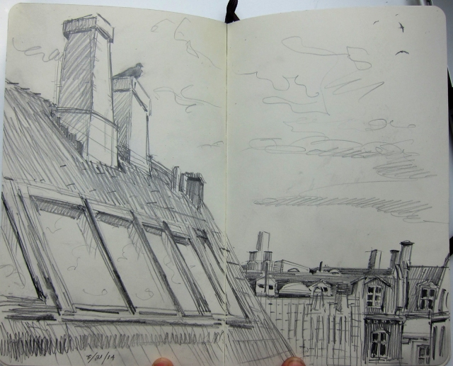 Wood pigeon on the chimney, swifts (Apus apus) high above them. The view from my writing desk. Pencil in Moleskine sketchbook.