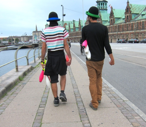 Jugglers walking on Slotsholms Canal, Copenhagen.