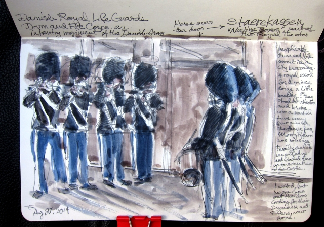 The Danish Royal Army's Fife and Drum Corps playing on the street in Copenhagen. Watercolor over pencil, Moleskine 5 x 8.