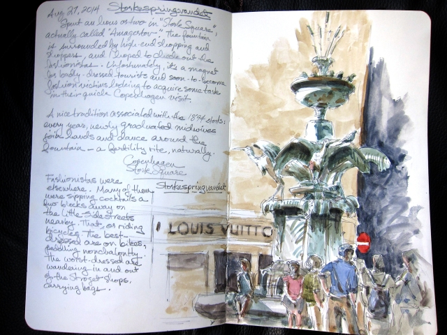 The Storkespringvandet, or Stork fountain, in Hojbro Plads in the heart of the well-heeled Stroget., a shopping district and people-watching hangout. I bought a ringside table and a beer for 54 kroners, and sketched happily until it was gone. Watercolor over pencil in 5x8 Moleskine.