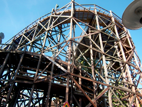 Bakken Amusement Park's all-wooden roller coaster, fairly terrifying just to stand  on the ground nearby and look at.