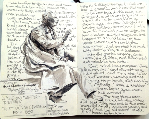Statue of Hans Christian Andersen, Kongens Have (King's Garden), Copenhagen, with text. Pencil and watercolor wash on Moleskine 5 x 8.