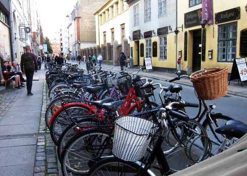 Copenhagen street scene, with bicycles.