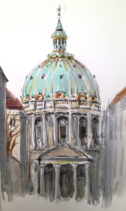 Frederick's Church, a.k.a. the Marble Church, Copenhagen. Green and gold confectionary dome sketched from the central courtyard of Ameliaborg Castle, where I was waiting for the noontime Changing of the Guard.