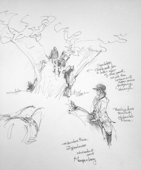 "More sketches- just quick studies- a great oak tree by the water hazard pond, filling up rapidly with tree-climbing spectators. Lower right, a rider resting her horse, white-gloved hand on its withers. Pencil in 8 1/2"" x 11"" Robert Bateman Sketchbook."
