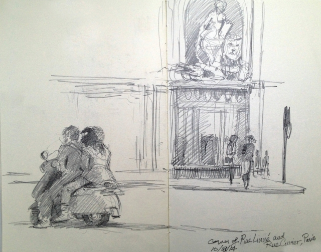 Cuvier Corner, Paris. The couple on the scooter lingered long enough for a portrait. They seemed to be waiting f