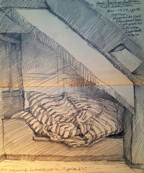 """Attic room with alcove bed, a tiny corner stove, a window, two dormer skylights. Eight by ten feet of rough pine floor space, a window shelf for a writing desk. Andersen's garret for the year of 1827, when he was 22 years old, studying for school entrance exams, impoverished but optimistic. Pencil in Moleskine 5"""" x 8"""" sketchbook."""