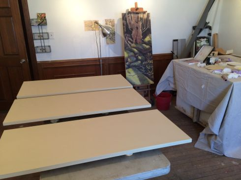 "Preparing wood panels, 48"" x 20"", Baltic birch with buff titanium gesso, 4 coats, sanded between. My studio now covered with a fine dusting of gesso powder. Did I mention I have a new studio?"
