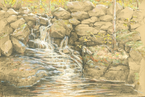 "The drawing, made while standing on the mossy bank just downstream. Graphite and pastel on 22"" x 15"" Rives BFK tan paper."