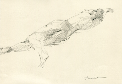 """Almost casual, stretched out with one foot kicked back. 6B pencil on Rives BFK 11"""" x 15"""""""