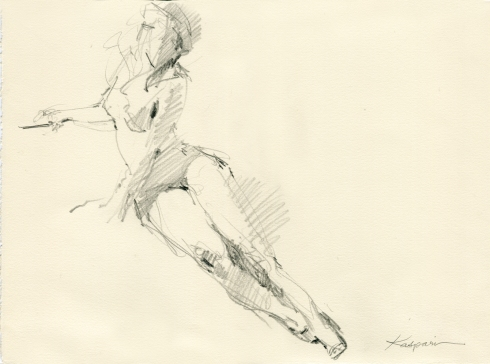 "Red spike heels and a black beret and strong light and three minutes. 6B pencil on Rives BFK paper, 11"" x 15"""