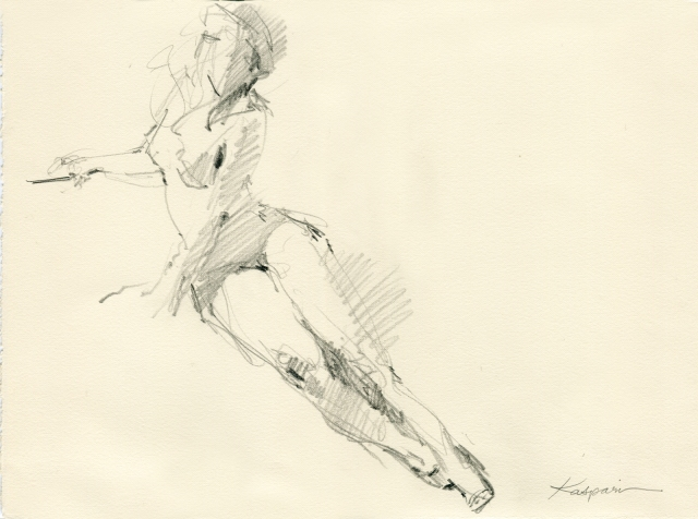"""Red spike heels and a black beret and strong light and three minutes. 6B pencil on Rives BFK paper, 11"""" x 15"""""""