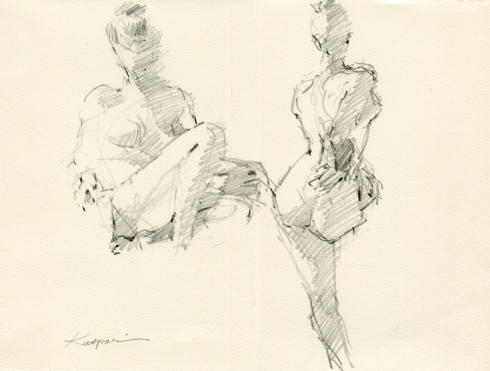 """Just three minutes; only enough time to get the gist. 6B pencil on Rives BFK 11"""" x 15"""""""