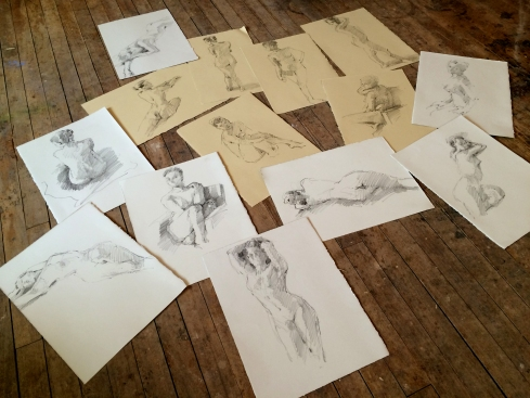 "Drawings from today's session with my favorite model. After I get them scanned I'll post them individually. Two hours of three and six minute poses. Nineteen drawings, fourteen keepers. All 11"" x 15"" on Rives BFK paper. Awesome day. More tomorrow."