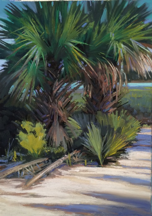 Charming spot on Spring Island this morning. Set up and went at it with pastels. I love the palmettos and palms along the marshlands here in the Low Country, as they call it. Tried to capture the scene. The sun came out and warmed the light and the sand underfoot. Suddenly, I began feeling hot stings all up and down my lower legs...Pastel on sanded paper,
