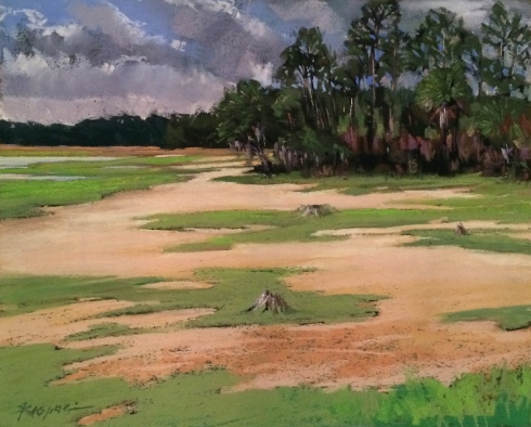 "Wednesday afternoon at Little Neck Crossing, where the palm tree meets the pines. Spring Island, SC. Plein air pastel, 14"" x 12""."