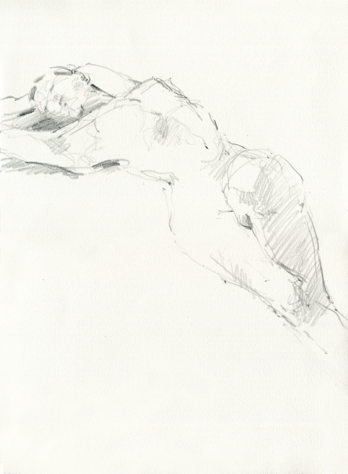 "Stretched across the page, looking up, one knee raised. Pencil on Rives BFK 11"" x 15"". This, I think, was a 3 minute pose."