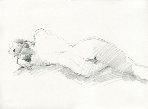 "On side, back view, one hand under her head. Pencil on Rives BFK 11"" x 15"". Another 3 minute pose."