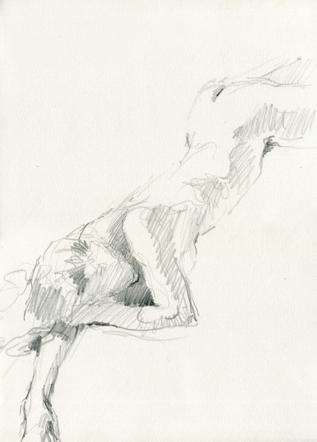 "Stretched across the page, resting. Pencil on Rives BFK 11"" x 15"". 6 minute pose."