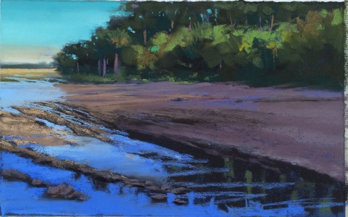 "The tide poured back into the marsh before the sun went down. This is at a spot called Palmetto Point. Very flat. The muddy bottom was dry when I started and when I finished, the water was up to the treeline. Not because I paint that slow, but just because the water comes in really, really fast. Pastel on sanded paper, approximately 14"" x 12""."