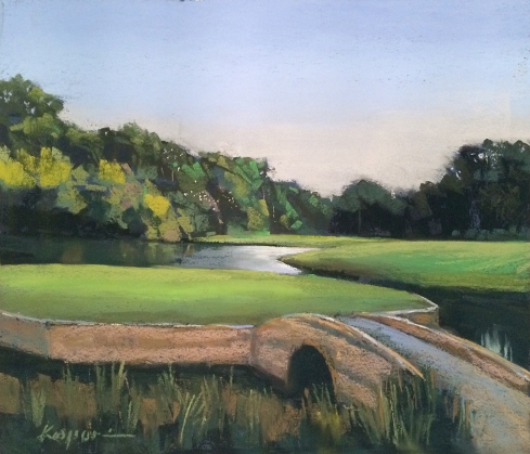 "The course at Spring Island features sand traps, water hazards and wood storks. The 16th hole includes the rookery. Pastel on sanded paper, 14"" x 12"". Demo for the advanced pastel class, Spring Island."