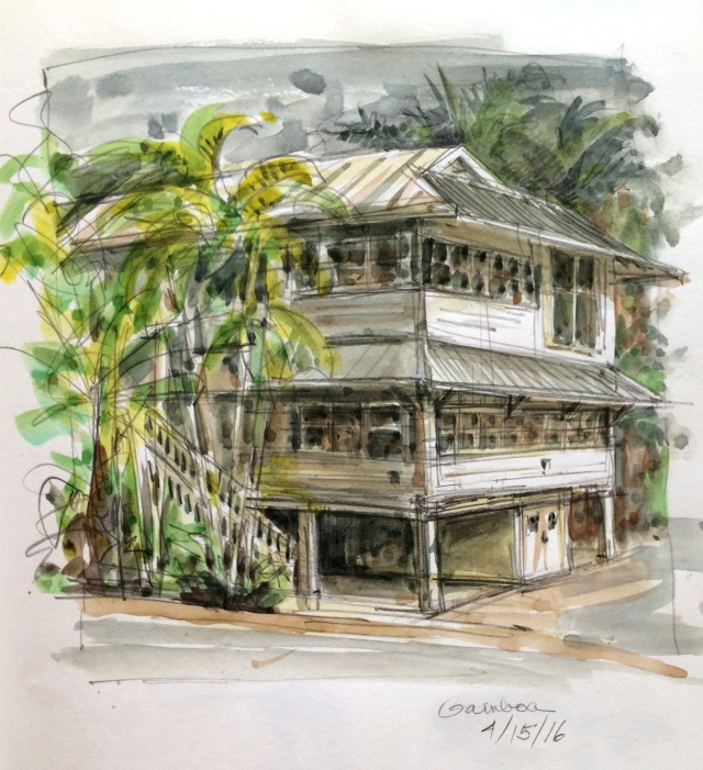 Where we're staying, a typical Canal Zone bungalow on stilts. Catches the breezes from all directions. Good tropical construction technique. Watercolor over pencil, Stillman & Birn Epsilon book.